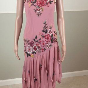 Sue Wong Beaded Rose Dress Formal Cocktail